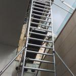 Úzke hliníkové lešenie pre výmenu sklenených výplní, RD BA